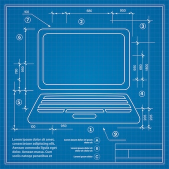 Obraz komputera osobistego na tle rysunku planu