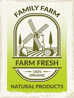 Obraz koncepcji rolnictwa. plakat retro na temat gospodarstwa
