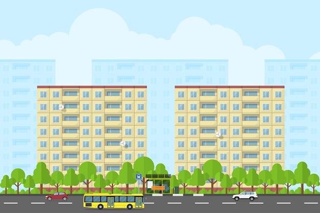 Obraz krajobrazu miasta z domami panelowymi, drogą, przystankiem bazowym, autobusami i samochodami, koncepcja stylu promocji produktu i reklamy