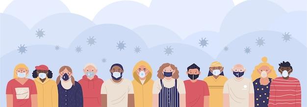 Obraz ludzi noszących maski medyczne chroniące się przed wirusem