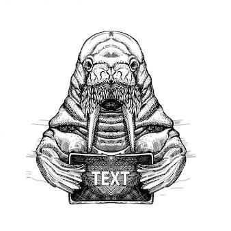 Obraz Morsa Z Kartą W Płetwach. Projekt Koszulki. Szkic Tatuażu Premium Wektorów