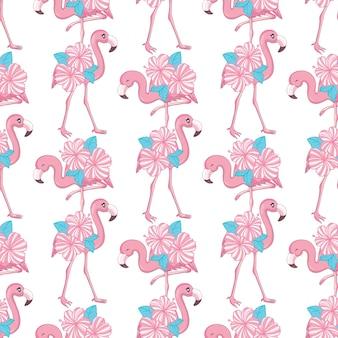 Obraz Na Plaży Tapety Z Pięknym Tropikalnym Ciałem Różowego Flaminga Z Kwiatami Róż. Premium Wektorów