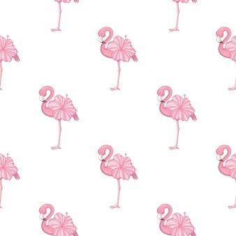 Obraz na plaży tapety z pięknym tropikalnym ciałem różowego flaminga z kwiatami róż.