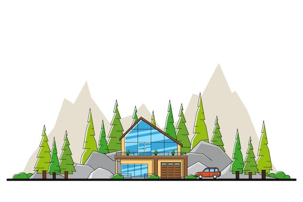 Obraz nowoczesnego prywatnego domu mieszkalnego z samochodem, wzgórzami i drzewami na tle,