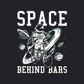 Obraz opis przestrzeni projektowej koszulki za kratkami z astronautą jadącym na rowerze vintage ilustracją