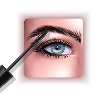 Obraz projektu tuszu do rzęs z pojedynczą niebieską ilustracją oka i rzęs