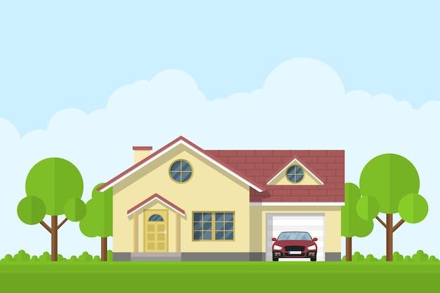 Obraz prywatnego domu z garażem i samochodem, ilustracja styl