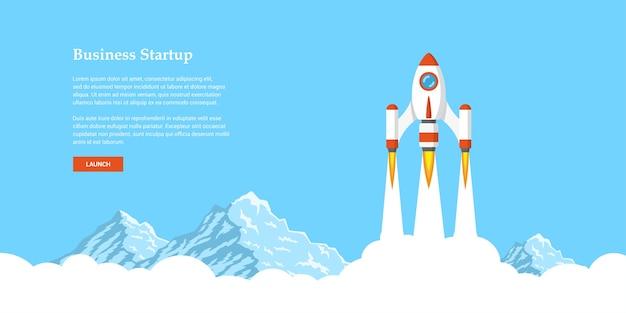 Obraz rakiety latającej nad chmurami, koncepcja banera uruchamiania firmy,