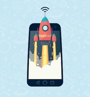 Obraz rakiety w telefonie. szybka komunikacja mobilna