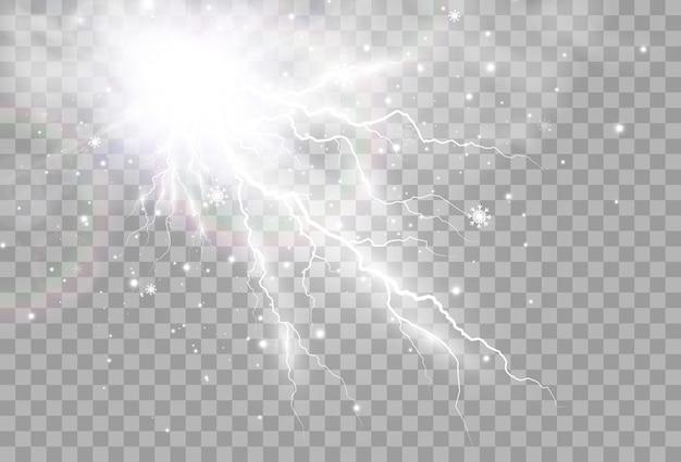 Obraz realistycznej błyskawicy błysk grzmotu na przezroczystym