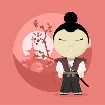 Obraz samuraja kreskówki, styl ilustracji