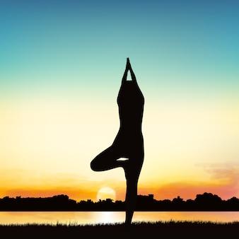 Obraz sylwetka pani w postawie jogi.