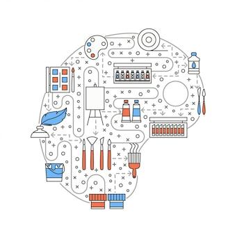 Obraz sztuki koncepcja linii płaskiej sztuki ilustracji
