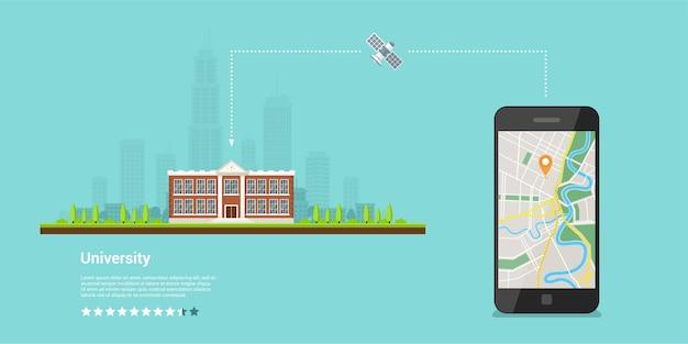 Obraz telefonu komórkowego z włączoną mapą i wskaźnikiem gps to ekran, mapy mobilne i koncepcja pozycjonowania gps