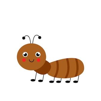 Obraz wektor ładny uśmiechający się mrówka na białym tle. prosta ilustracja.