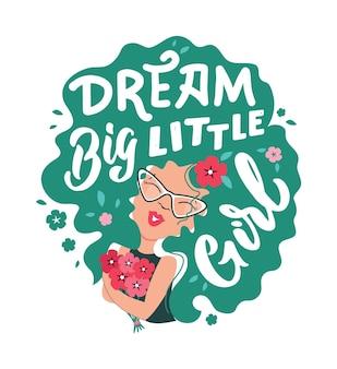 Obraz z dziewczyną z kreskówek fraza z napisem sen duża mała dziewczynka dobry dla projektów na dzień dziewczyny
