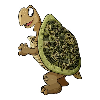 Obraz żółwia. kreskówki ilustracja śliczny tortoise żółw. doodle zwierzątko komiks stylu
