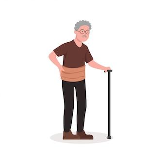 Obrażony uraz lędźwiowy stary człowiek z kijem