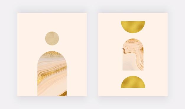 Obrazy ścienne boho z geometrycznymi płynnymi kształtami