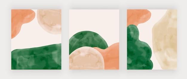 Obrazy ścienne z beżowymi i zielonymi akwarelowymi kształtami