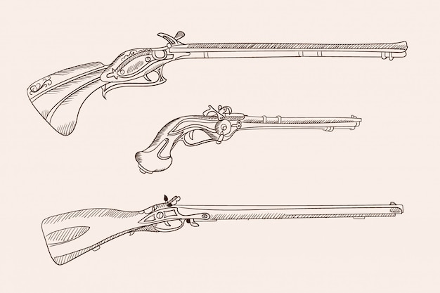 Obrazy wektorowe starej europejskiej broni palnej. prosty rysunek odręczny.