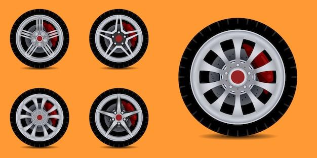 Obręcz samochodu sportowego. kolekcja opon samochodowych.