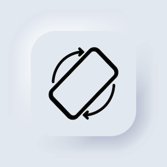 Obróć ikonę telefonu komórkowego. obrót ekranu mobilnego. włącz swoje urządzenie. obróć ikonę smartfona. biały przycisk sieciowy interfejsu użytkownika neumorphic ui ux. neumorfizm. wektor.