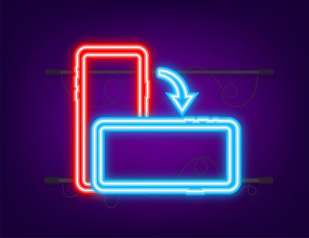 Obróć na białym tle ikonę smartfona ikona neonu symbol obrotu urządzenia obróć urządzenie
