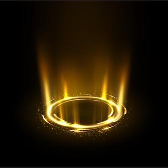 Obrotowe złote promienie z błyszczy
