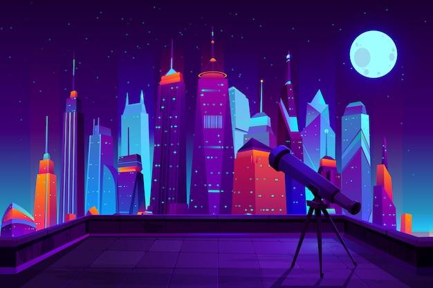 Obserwacje astronomiczne w nowoczesnej kreskówce miasta w neonowych kolorach.