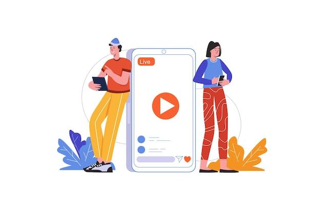 Obserwatorzy oglądają transmisję na żywo z blogera na telefonach komórkowych. mężczyzna i kobieta oglądają filmy, scena ludzi na białym tle. koncepcja komunikacji i treści online. ilustracja wektorowa w płaskiej minimalistycznej konstrukcji
