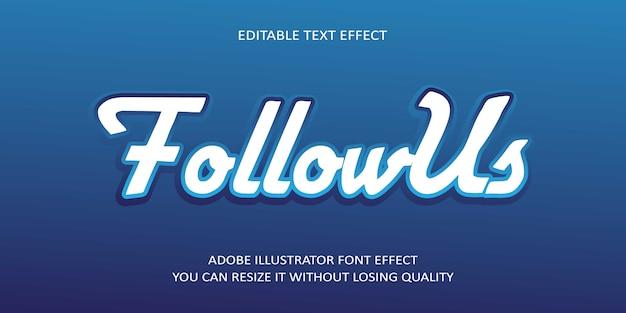 Obserwuj nas czcionka efektu tekstu edytowalnego wektorowo