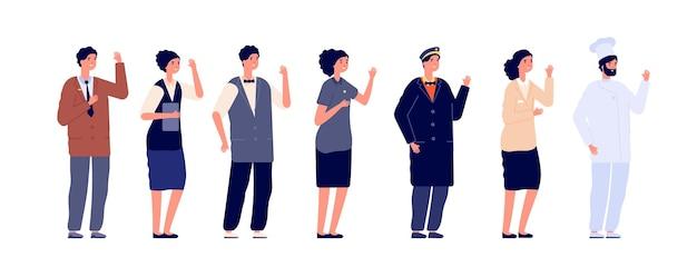 Obsługa hotelowa. pracownik hotelarski, zespół roboczy w mundurze. grupa pracowników na białym tle, płaski portier, szef kuchni. służba ludzi