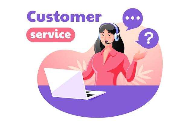 Obsługa Klienta Dla Kobiet, Która Odpowiada Na Skargi Klientów Premium Wektorów