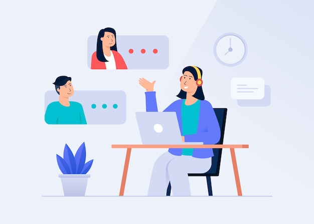 Obsługa klienta i koncepcja ilustracji komunikacji zdalnej