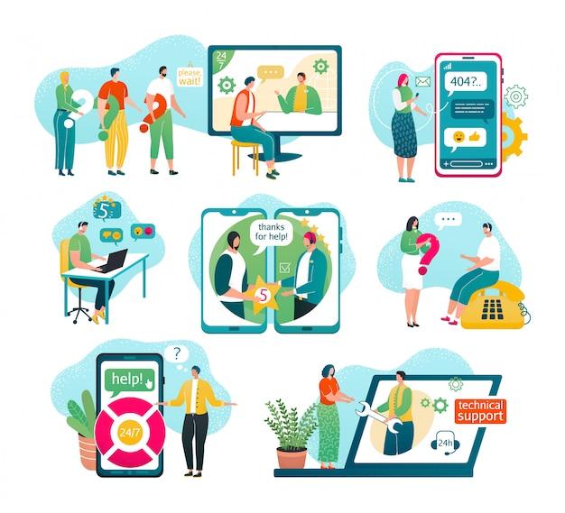 Obsługa klienta na białym zestawie ilustracji. serwis, męski operator infolinii w słuchawkach doradza klientowi, globalne wsparcie techniczne online, asystenci klienta i operatora pomagają, czat.