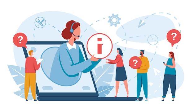 Obsługa klienta specjalista ds. wsparcia technicznego online konsultujący koncepcję wektorową dla klientów