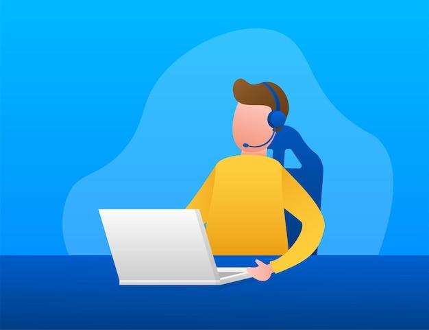 Obsługa klienta. strona docelowa call center. centrum wsparcia online, pomoc. ilustracja wektorowa