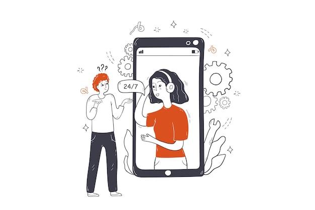 Obsługa klienta, wsparcie online, ilustracja koncepcji komunikacji