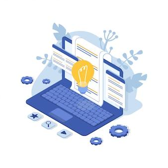 Obsługa klienta z laptopem. skontaktuj się z nami. faq. ilustracja izometryczna.
