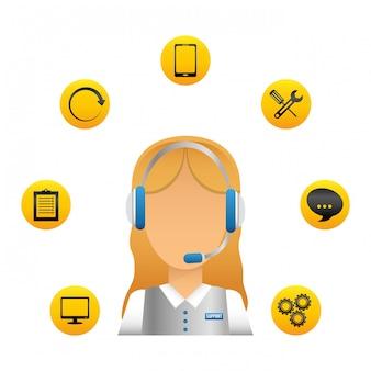Obsługa techniczna i ikona centrum obsługi telefonicznej