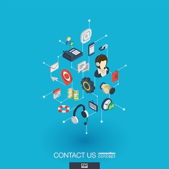 Obsługa zintegrowanych ikon internetowych. koncepcja interakcji izometrycznej sieci cyfrowej. połączony graficzny system kropkowo-liniowy. tło dla call center, serwisu pomocy, skontaktuj się z nami. infograf