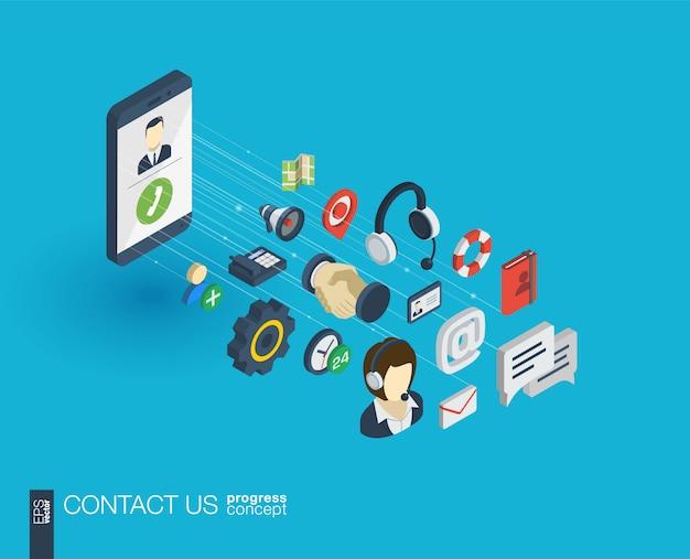 Obsługa zintegrowanych ikon internetowych. koncepcja postępu izometrycznego sieci cyfrowej. połączony system wzrostu linii graficznych. tło dla call center, serwisu pomocy, skontaktuj się z nami. infograf