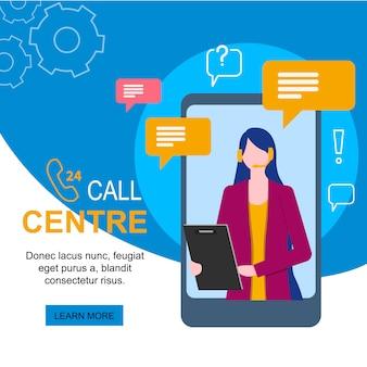 Obsługi klienta kobiety operator z słuchawki mikrofonem na telefonie komórkowym
