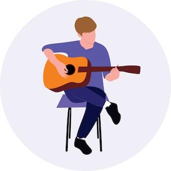 Obsługuje bawić się gitarę akustyczną podczas gdy siedzący na krześle