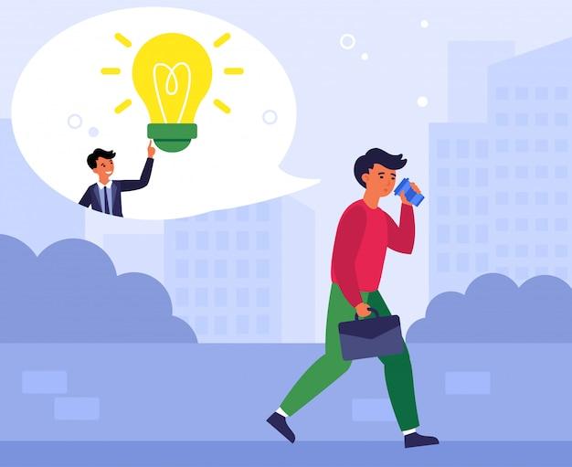 Obsługuje dostawać pomysł podczas gdy pijący kawę w drodze do pracy