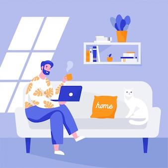 Obsługuje obsiadanie na kanapie i działanie na laptopie. freelancer domowe miejsce pracy. płaska ilustracja.