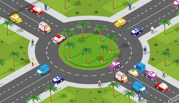 Obszar miejski ze skrzyżowaniem