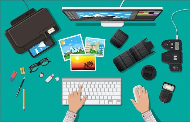Obszar roboczy fotografa.
