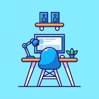 Obszar roboczy ilustracja kreskówka komputer z lampą monitora krzesła dźwiękowego i rośliną na stole